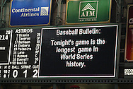 CHICAGO - OCTOBER 25:  Scoreboard message during Game 3 of the 2005 World Series against the Houston Astros at Minute Maid Field on October 25, 2005 in Chicago, Illinois.  The White Sox defeated the Astros 7-5.