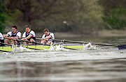 Putney. London.  2004 University Boat Race,  Championships Course, Putney to Mortlake. <br /> <br /> Clash of blades and OUBC bowman comes of his seat, allowing CUBC to pull ahead and establish a good lead.<br /> <br /> CUBC. Bow. C le Neve Foster, K Coventry,   H Mallinson, S Mayer, A Shannon, S Buschbacher,  *W Pommen, N Kirk, and  Cox K Richardson, <br /> <br /> OUBC. Bow. C Kennelly,  B G Dixon,  A Stubbs, ; J Scrogin, P Reed, ; D Livingston, 1 H Morris,  C Smith,  A Nethercott, <br /> <br /> [Mandatory Credit Peter SPURRIER]