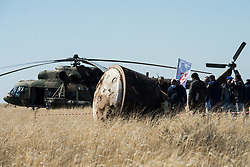 Russian Search and Rescue teams arrive at the Soyuz MS-15 spacecraft shortly after it landed in a remote area near the town of Zhezkazgan, Kazakhstan with Expedition 62 crew members Jessica Meir and Drew Morgan of NASA, and Oleg Skripochka of Roscosmos, Friday, April 17, 2020. Meir and Skripochka returned after 205 days in space, and Morgan after 272 days in space. All three served as Expedition 60-61-62 crew members onboard the International Space Station.<br /> <br /> Where: Zhezkazgan, Kazakhstan<br /> When: 17 Apr 2020<br /> Credit: NASA/GCTC/Andrey Shelepin/Cover Images<br /> <br /> **Editorial use only**