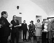 "Bloomsday at Joyce Tower,Sandycove..1972..16.06.1972..06.16.1972..16th June 1972..As part of the Bloomsday celebrations,Joyce Tower,Sandycove was renovated and opened to the public.The tower is an important part of the novel ""Ulysses"" written by James Joyce.The celebration in part is organised by the Eastern Regional Tourism Organisation..Image of Professor Kevin Sullivan,Columbia University speaking before the unveiling of the plague. to his left is a bust of the author James Joyce."