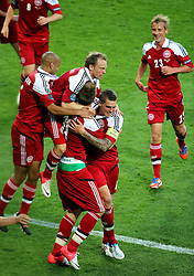 13-06-2012 VOETBAL: UEFA EURO 2012 DAY 6: POLEN OEKRAINE<br /> NICKLAS BENDTNER DEN  SCORES A GOAL FOR DENMARK during the UEFA EURO 2012 group B match between Denemarken en Portugal at Arena Lwiw, Lemberg, UKR<br /> ***NETHERLANDS ONLY***<br /> ©2012-FotoHoogendoorn.nl