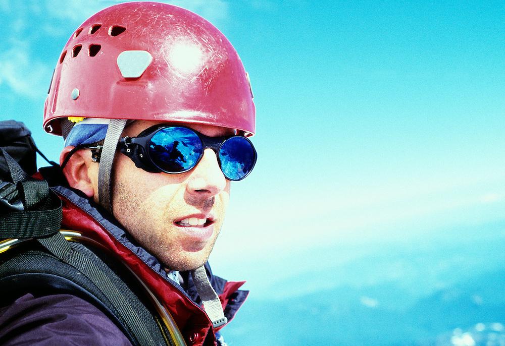Portrait of Rodger Kohn while mountain climbing, Mount Rainier National Park, Washington, USA.