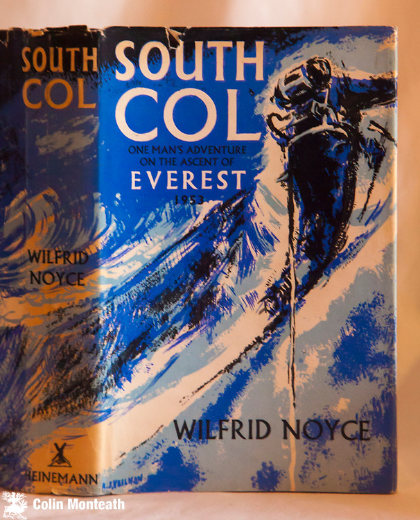 SOUTH COL,  Wilfrid Noyce, Heinemann, London, 1954 1st edn., one part fep missing, chipped but overall good jacket, 300 page hardback, B&W and colour plates, excellent maps, Noyce was the first to reach the South Col in 1953 and this is his highly personal story of a great expedition. a classic - $NZ55
