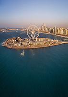 Aerial view of the Ferris wheel on Bluewaters island in Dubai, U.A.E.