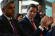 © Licensed to London News Pictures. 24/05/2013. London, UK (L-R) Sadiq Khan, Labour MP for Tooting sits with Nick Clegg. Nick Clegg, Liberal Democrat MP and Deputy Prime Minister, attends a multi faith gathering with the local multi faith community at the Hugh Cubitt Peabody Centre in Islington London today 24th May 2013. After meeting privately with political and faith leaders he and they made speeches in response to the attack and death of Drummer Lee Rigby in Woolwich, calling for the community to unite against the attack. Photo credit : Stephen Simpson/LNP