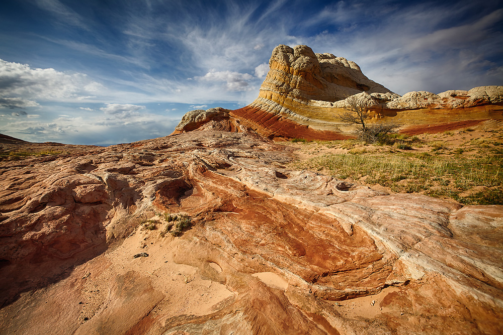 Twisted and swirling sandstone at the White Pocket, Vermilion Cliffs National Monument