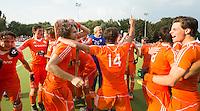 WATERLOO (Belgie) - Vreugde bij Oranje na afloop. Het Nederlands Jong Oranje -21 mannen winnen de EK finale van Duitsland met 5-2. COPYRIGHT KOEN SUYK