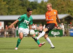 Mohammad Ali (Avarta) og Jonas Kallehauge (FC Helsingør) under kampen i 2. Division Øst mellem Boldklubben Avarta og FC Helsingør den 19. august 2012 i Espelunden. (Foto: Claus Birch).