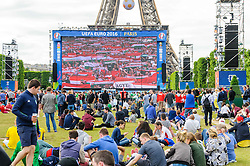 Fans settle in to watch Austria v Hungary on the big screens at the Paris Fanzone. Images from the UEFA EURO 2016, 14 June 2016 in Fan Zone. (c) Paul Roberts   Edinburgh Elite media. All Rights Reserved