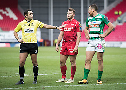 Referee Mathieu Raynal, Scarlets' Paul Asquith, Benetton Rugby's Alberto Sgarbi watch the replays<br /> <br /> Photographer Simon King/Replay Images<br /> <br /> EPCR Champions Cup Round 3 - Scarlets v Benetton Rugby - Saturday 9th December 2017 - Parc y Scarlets - Llanelli<br /> <br /> World Copyright © 2017 Replay Images. All rights reserved. info@replayimages.co.uk - www.replayimages.co.uk
