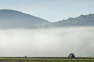 Warwick, New York -  Early  morning fog over farm fields on Sept. 24, 2014.