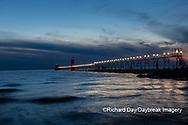 64795-03309 Grand Haven Lighthouse at sunset on Lake Michigan Grand Haven, MI