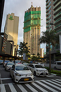 The two tower residential development, Garden Towers, under construction on East Street, Makati, Metro Manila, Philippines. It's name refers to the fact that there are gardens on every other floor.  (photo by Andrew Aitchison / In pictures via Getty Images)
