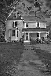 Classic New Melle Colonial Style Architecture in this black and white rendering.