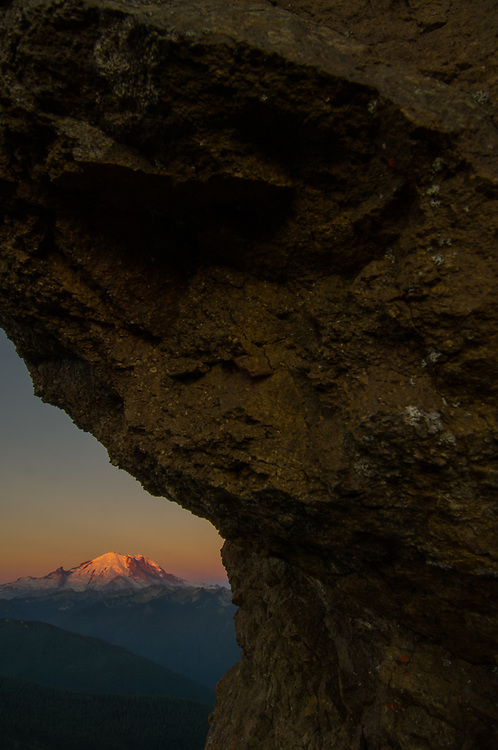 Mount Rainier, morning light, August, view from Norse Peak Wilderness, Mount Baker-Snoqualmie National Forest, Washington, USA