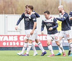 Falkirk's Rory Loy celebrates after scoring their fifth goal.<br /> half time : Falkirk v Cowdenbeath, Scottish Championship game played today at The Falkirk Stadium.<br /> © Michael Schofield.