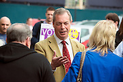 © Licensed to London News Pictures. 29/04/2014. Slough, UK. NIGEL FARAGE leader of UKIP in Slough today 29 April 2014 to congratulate local activists on more than doubling the candidates the party will field in local elections. Photo credit : Stephen Simpson/LNP