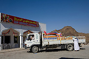 Between Muscat and Nizwa, Sultanate of Oman. .February 1st 2009..A restaurant on the road in the middle of the desert
