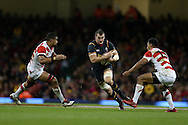 Sam Warburton of Wales looks for a gap. Under Armour 2016 series international rugby, Wales v Japan at the Principality Stadium in Cardiff , South Wales on Saturday 19th November 2016. pic by Andrew Orchard, Andrew Orchard sports photography