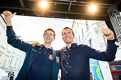 Tadej Pogacar and Jan Polanc during reception of best Slovenian riders after Giro d'Italia 2019 and Tour of California 2019, on June 3rd, 2019, in Mestni trg, Ljubljana, Slovenia. Photo by Vid Ponikvar / Sportida