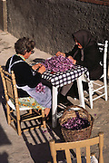 Two women removing the stigmas from Freshly picked saffron flowers in Consuegra, La Mancha, Spain. Saffron has been the world's most expensive spice by weight for decades. The flower has three stigmas, which are the distal ends of the plant's carpels. These are separated from the petals by hand and dried to make saffron spice.
