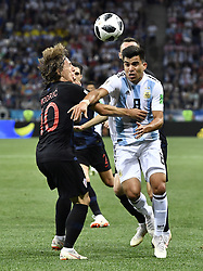 NIZHNY NOVGOROD, June 21, 2018  Marcos Acuna (R front) of Argentina vies with Luka Modric of Croatia during the 2018 FIFA World Cup Group D match between Argentina and Croatia in Nizhny Novgorod, Russia, June 21, 2018. (Credit Image: © Chen Yichen/Xinhua via ZUMA Wire)