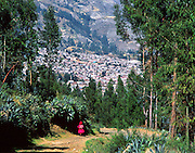 An Andean woman walks by agave plants and eucalyptus trees on the outskirts of Huaraz, Peru, South America.