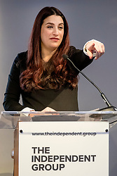 © Licensed to London News Pictures. 18/02/2019. London, UK. Former Labour MP Luciana Berger speaks at an event in Westminster, London. A group of seven former Labour MPs announced the formation a new political party, The Independent Group, formed by breakaway Labour MPs who disagree with Labour Party action on Brexit and Antisemitism. Photo credit: Rob Pinney/LNP