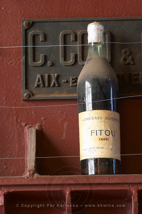 Fitou Corbieres (!) Superieur 1945 Francois Berge Sirven Paziols. Domaine Bertrand-Berge In Paziols. Fitou. Languedoc. France. Europe. Bottle.