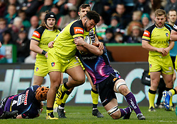 Leicester Tigers' Ellis Genge during the Anglo-Welsh Cup Final at Twickenham Stoop, London.