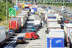 © Licensed to London News Pictures. 17/08/2016<br /> SEVERE TRAFFIC DELAYS IN KENT.<br /> QE2 Bridge is closed in Dartford,Kent in both directions after an accident at 2am this morning (17.08.2016).    The closure is causing severe traffic on the M25 AND A2 both of which are at a standstill.<br /> <br /> (Byline:Grant Falvey/LNP)