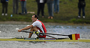 Munich, GERMANY, 01.09.2007,  B Final, BEL M1X, Tim MAEYENS, Men's Single Sculls at the 2007 World Rowing Championships, taking place on the  Munich Olympic Regatta Course, Bavaria. [Mandatory Credit. Peter Spurrier/Intersport Images]. , Rowing Course, Olympic Regatta Rowing Course, Munich, GERMANY