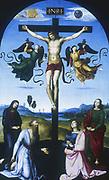 The Mond Crucifixion (The Crucified Christ with the Virgin Mary, Saints and Angels) c1503.  Raphael (1483-1520) Raffaello Santi, Italian painter. Oil on Poplar.