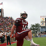 South Carolina Gamecocks quarterback Connor Shaw (14)  celebrates after he catches a touchdown pass on a trick play during the second quarter of the NCAA Capital One Bowl football game between the South Carolina Gamecocks who represent the SEC and the Wisconsin Badgers who represent the Big 10 Conference, at the Florida Citrus Bowl on Wednesday, January 1, 2014 in Orlando, Florida. (AP Photo/Alex Menendez)