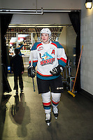 KELOWNA, CANADA - FEBRUARY 10: Gordie Ballhorn #4 of the Kelowna Rockets walks to the dressing room after warm up against the Vancouver Giants on February 10, 2017 at Prospera Place in Kelowna, British Columbia, Canada.  (Photo by Marissa Baecker/Shoot the Breeze)  *** Local Caption ***