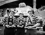 The victorious Tullyallen, Co Louth Macra na Feirme team, Pat Winters, George O'Brien and Gerry Healy, display their trophies after they were declared overall winners of the National Farm Tasks Competition, sponsored by Irish Shell Ltd. Over 400 teams originally took part in the competition.<br /> 05/05/1976