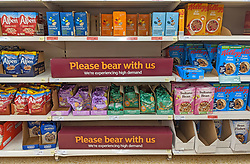 © Licensed to London News Pictures 20/09/2021. <br /> Sevenoaks, Empty shelves in the breakfast cereal aisle at Sainsburys in Sevenoaks, Kent today. Supermarket shortages are continuing across the UK due to a lack of supply and a shortage of lorry drivers which is expected to get a lot worse over the next few months. Photo credit:Grant Falvey/LNP
