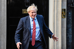 © Licensed to London News Pictures. 08/10/2019. LONDON, UK.  Boris Johnson, Prime Minister, prepares to meet David Sassoli, President of the European Parliament, for talks at Number 10 Downing Street.  Photo credit: Stephen Chung/LNP