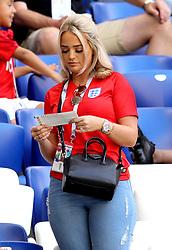 Megan Davison, partner of Jordan Pickford before the FIFA World Cup, Quarter Final match at the Samara Stadium.