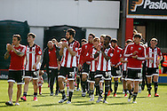 Brentford players going on a lap of honour to thank the fans for their support over the season. Skybet football league championship match, Brentford  v Fulham at Griffin Park in London on Saturday 30th April 2016.<br /> pic by Steffan Bowen, Andrew Orchard sports photography.