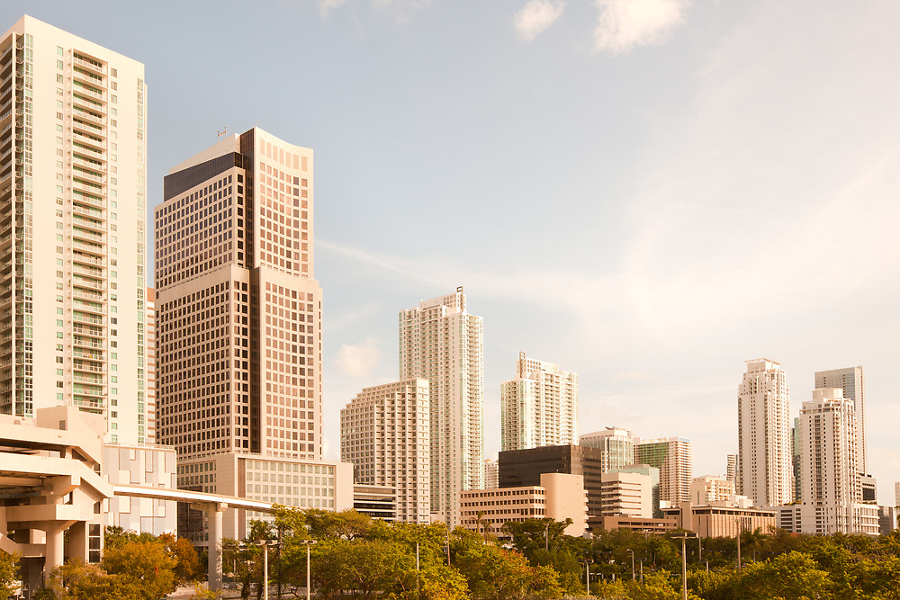 Skyline of apartment buildings at city downtown, Miami, Florida, United States