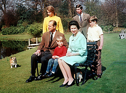 File photo dated 09/04/68 of The Duke of Edinburgh and Queen Elizabeth II with their children (from left) Princess Anne, Prince Edward, Prince Charles and Prince Andrew in the garden of the Frogmore Estate, Berkshire. The Duke of Edinburgh has died, Buckingham Palace has announced. Issue date: Friday April 9, 2020.. See PA story DEATH Philip. Photo credit should read: PA Wire
