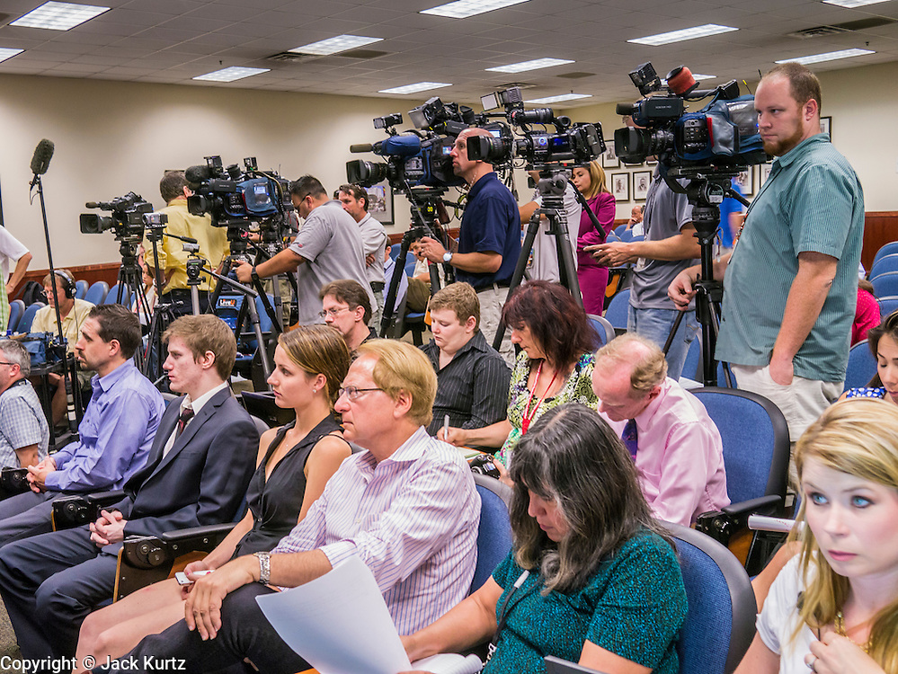 17 JULY 2012 - PHOENIX, AZ: Reporters at the press conference in Phoenix, AZ, Tuesday when Maricopa Country Sheriff Joe Arpaio and his volunteer investigator Mike Zullo announced that President Obama's birth certificate is not authentic. Zullo and Arpaio said their investigation proves that the long form birth certificate President Barrack Obama has used to prove his citizenship is a fraud. They further said that Hawaii's lax standards for getting a birth certificate may pose a serious flaw to the United States' national security. PHOTO BY JACK KURTZ