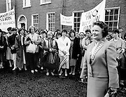 Bridget Butler, leader of the Irish Nurses Organisation, with nurses from all over the country as they march to Dáil Éireann to protest against proposed health cuts.<br /> 28 May 1986