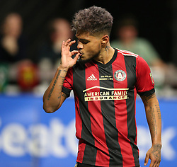 December 8, 2018 - Atlanta, GA, USA - Atlanta United forward Josef Martinez (7) ''smoked the goalie'' after he scored a goal in the first half as Atlanta wins the MLS Cup 2-0 over the Portland Timbers on Saturday, Dec 8, 2018, in Atlanta. (Credit Image: © Curtis Compton/Atlanta Journal-Constitution/TNS via ZUMA Wire)