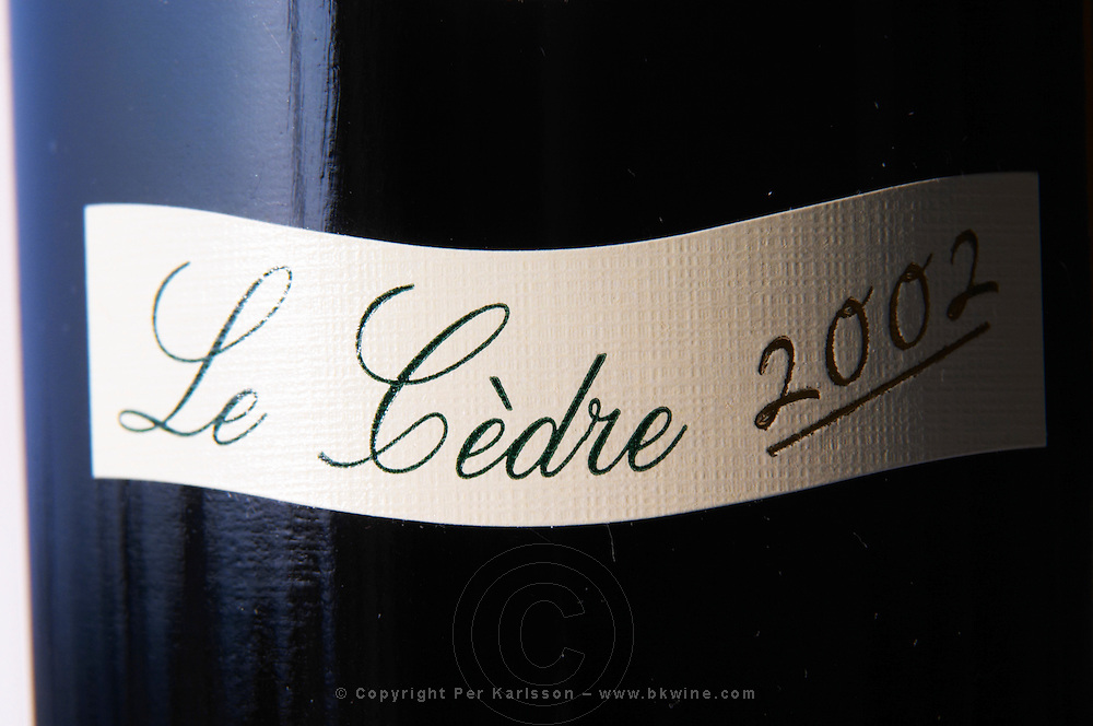 Detail of label on a bottle of Le Cedre from Chateau du Cedre Cahors Lot Valley France