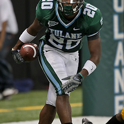 Sep 26, 2009; New Orleans, LA, USA;  Tulane Green Wave wide receiver Jeremy Williams (20) celebrates after scoring a touchdown against the McNesse State Cowboys at the Louisiana Superdome. Tulane defeated McNeese State 42-32. Mandatory Credit: Derick E. Hingle-US PRESSWIRE