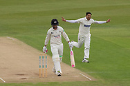 WICKET - Muhammad Abbas gets Gareth Roderick 1st ball  during the Specsavers County Champ Div 2 match between Leicestershire County Cricket Club and Gloucestershire County Cricket Club at the Fischer County Ground, Grace Road, Leicester, United Kingdom on 18 June 2019.