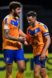 Ollie Clarke of Mansfield Town celebrates his opening goal with Ryan Sweeney - Mandatory by-line: Ryan Crockett/JMP - 17/02/2021 - FOOTBALL - One Call Stadium - Mansfield, England - Mansfield Town v Bolton Wanderers - Sky Bet League Two