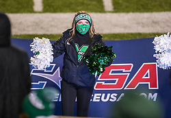 Dec 18, 2020; Huntington, West Virginia, USA; A Marshall Thundering Herd cheerleader performs during the fourth quarter against the UAB Blazers at Joan C. Edwards Stadium. Mandatory Credit: Ben Queen-USA TODAY Sports